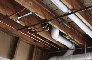 Copper pipes in ceiling